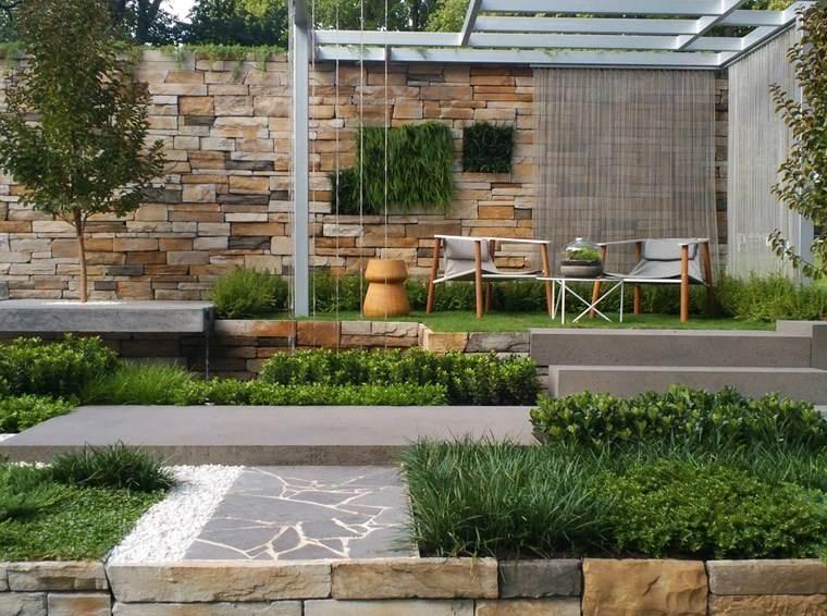 jardin diseno contemporaneo lugar comidas pergola ideas