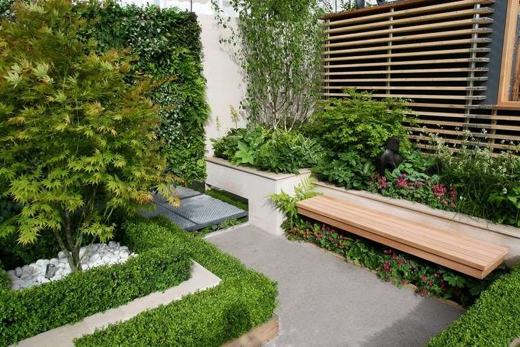 jardin diseno contemporaneo pequeno banco madera ideas