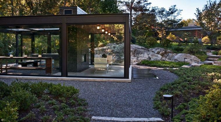 jardin japones moderno amplio plantas grava ideas