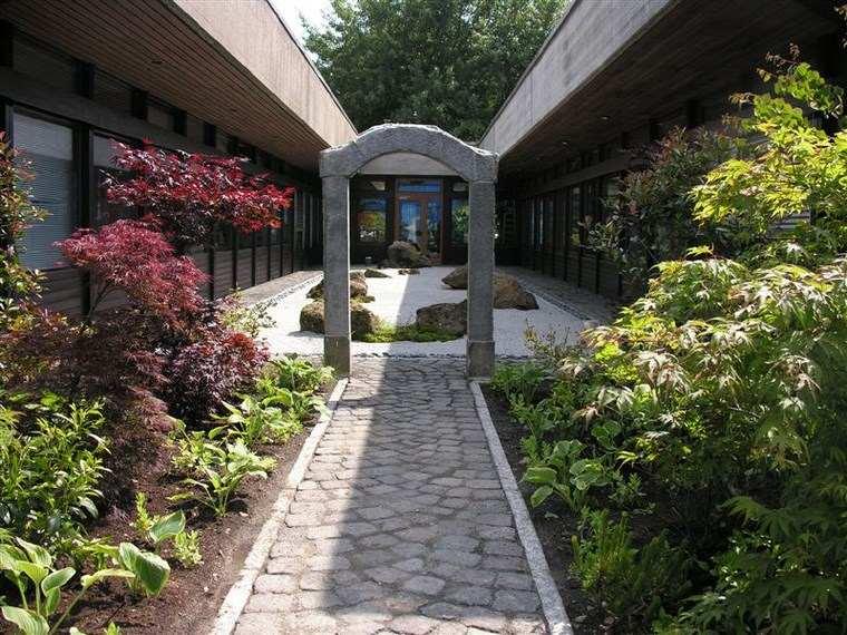 jardin japones moderno arca hormigon plantas ideas