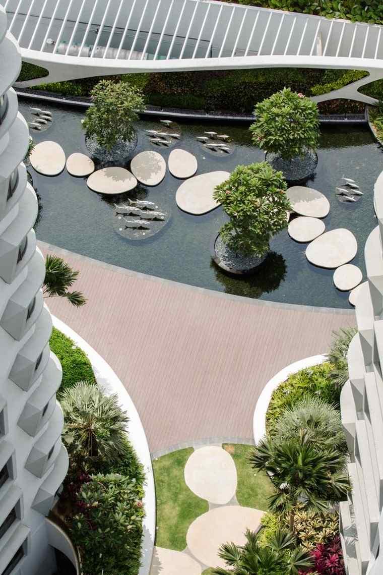 jardin japones moderno camino losas redondas ideas
