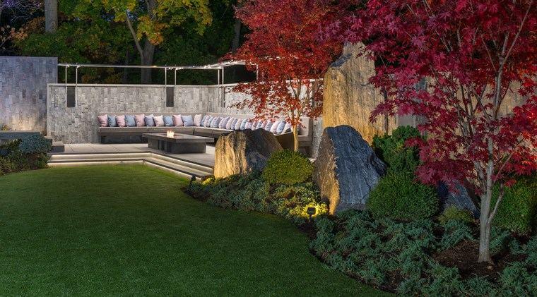 jardin japones moderno cesped lugar descanso ideas