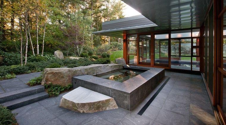 jardin japones moderno estanque simples ideas