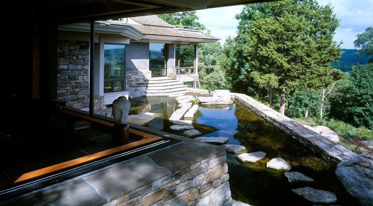 jardin japones moderno grande estanque camino ideas