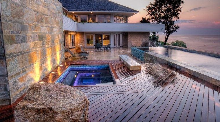 jardin japones moderno jacuzzi piscina ideas
