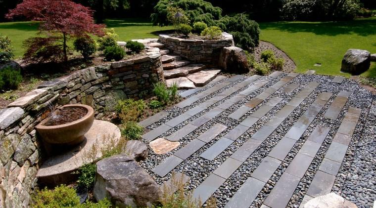 jardin japones moderno losas piedra ideas