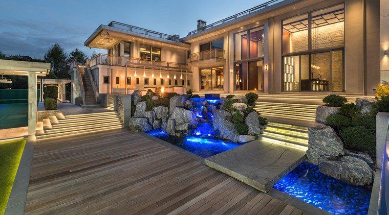 jardin japones moderno madera agua piedras ideas