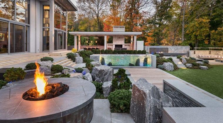 jardin japones moderno pozo fuego piedras grandes ideas