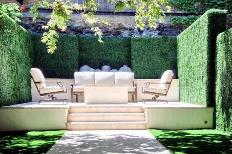jardin secreto protegido miradas indeseadas muebles blancos ideas