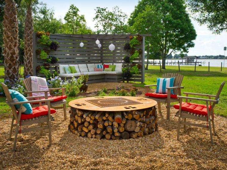 jardin mesas para terraza chimenea diy