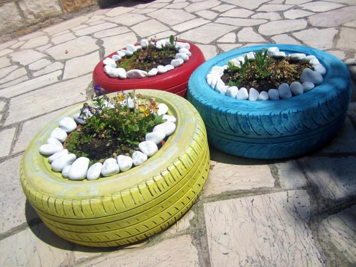 jardineras colores decoradas piedras