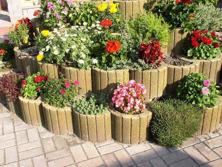 jardineria hormigon circulares espacios amarilo