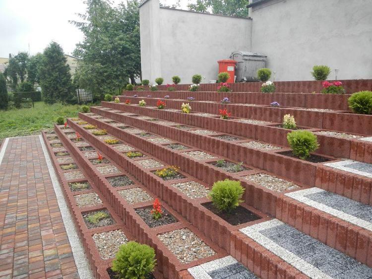 jardineria hormigon escalones simples flores