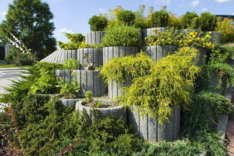 jardineria hormigon estantes bloques ramas efectos
