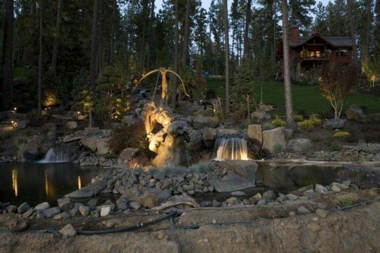 jardines cascadas escultura figuras flechas