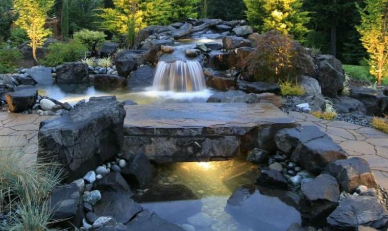 jardines cascadas hierbas colores puentes
