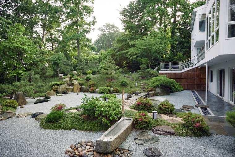 jardines japoneses modernos flores jardin trasero zen ideas