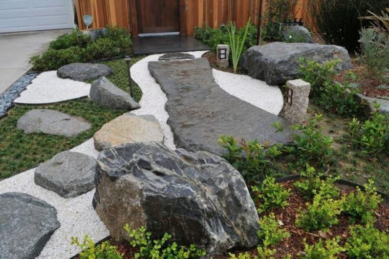 jardines piedras flores grises muebles senderos
