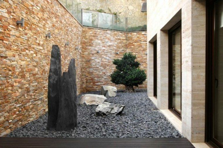 jardines piedras muros sitios madera pequeños