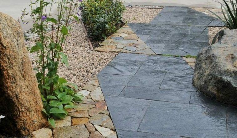 jardines piedras senderos grises plantas