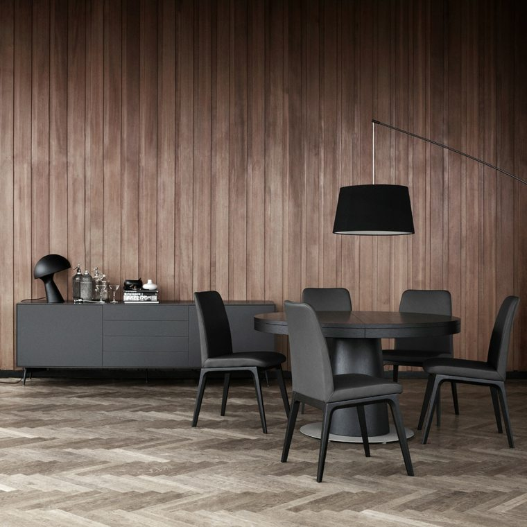 lacado gris moderno segmentos madera comedores