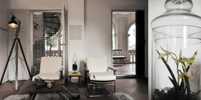 lampara foco diseno vintage sillones salon ideas