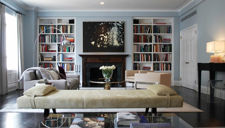 librerias integradas paredes salon