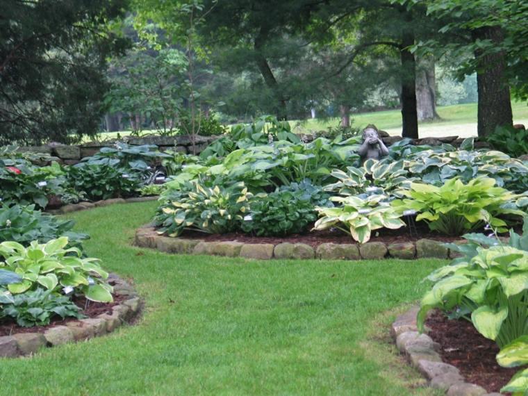 hostas jardin delantero flores preciosas verdes ideas
