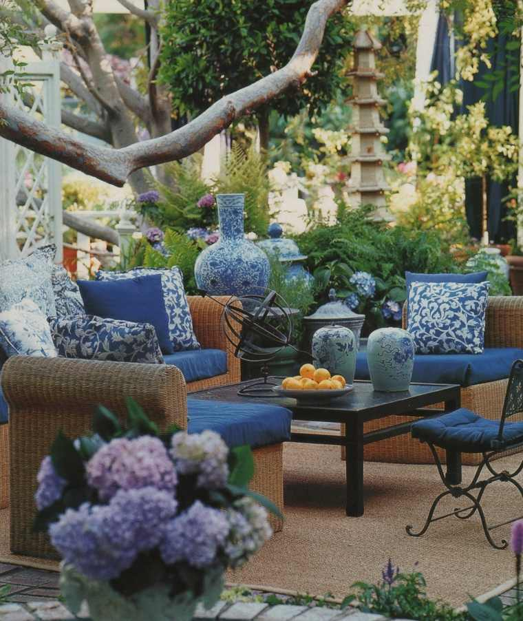 mary mcdonald diseno jardin azul muebles ratan ideas