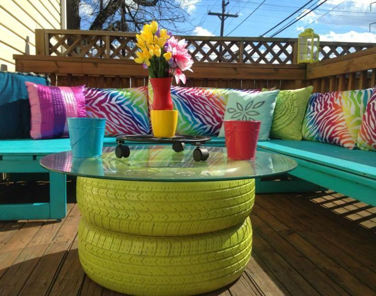 Neumaticos viejos para decorar tu jard n 24 ideas - Jardineras de colores ...
