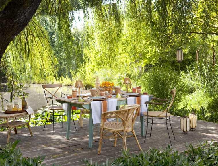 mesa sillas estilo vintage jardin romantico ideas