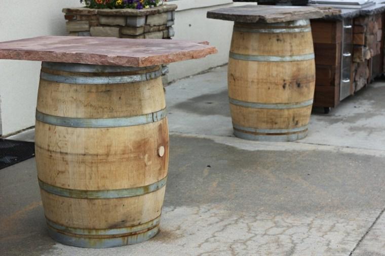 mesas terraza barriles vino deco