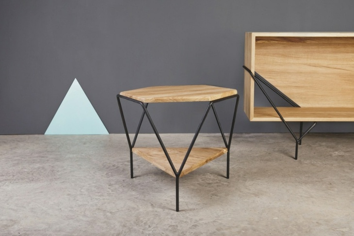 metales geometricos madera estantes acero