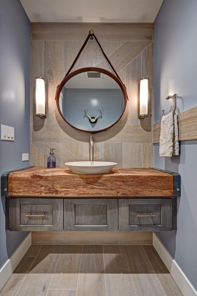 Ba os peque os modernos descubre las nuevas tendencias - Mueble lavabo rustico ...