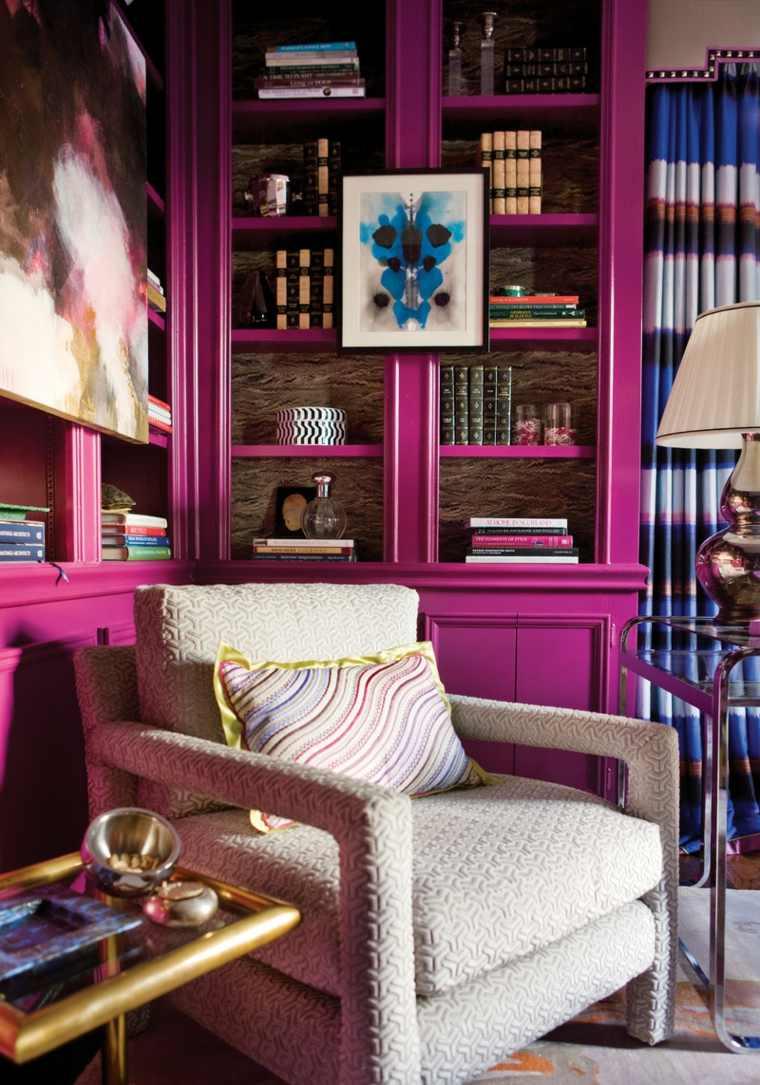 mueble libreria color rosa fucsia
