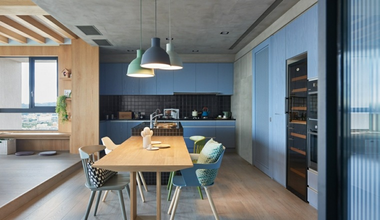muebles cocina comedor madera azul