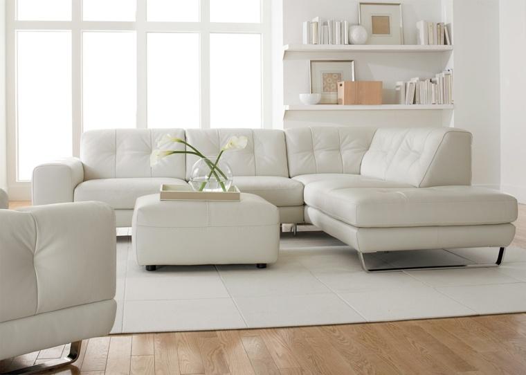 Salones en blanco descubra los 100 interiores m s modernos - Muebles blanco roto ...