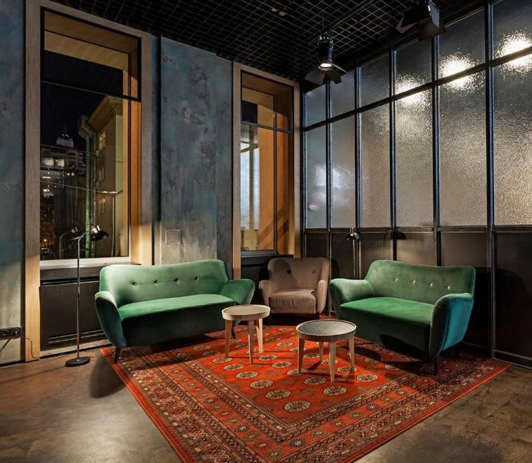 muebles coloridos alfombra grande diseno vintage ideas