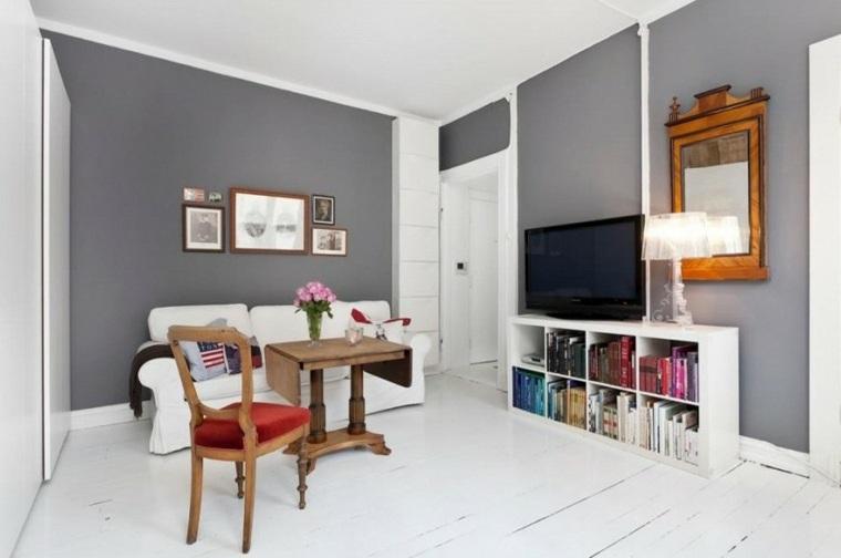 muebles blancos pared color gris