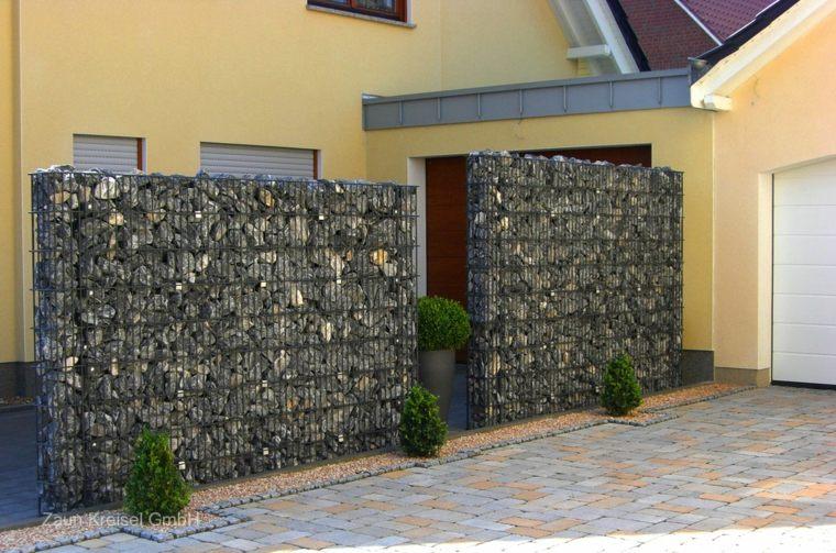muros piedra gavion estilo moderno