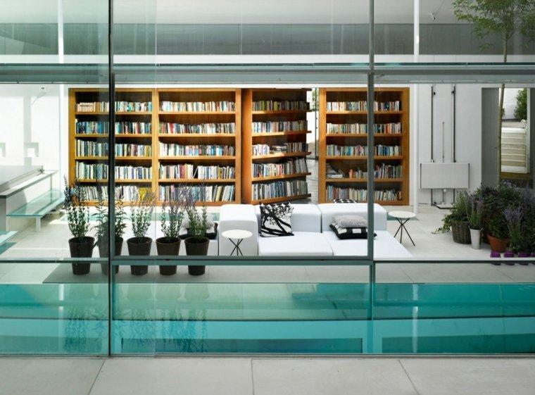 salón moderno librería diseño