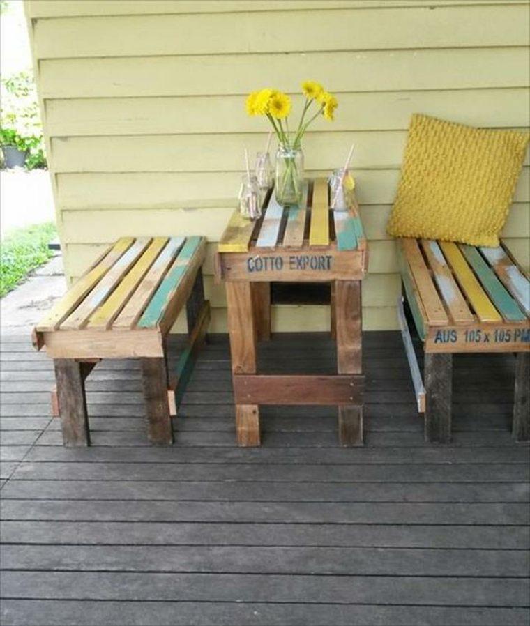 original conjunto mesa bancos palet