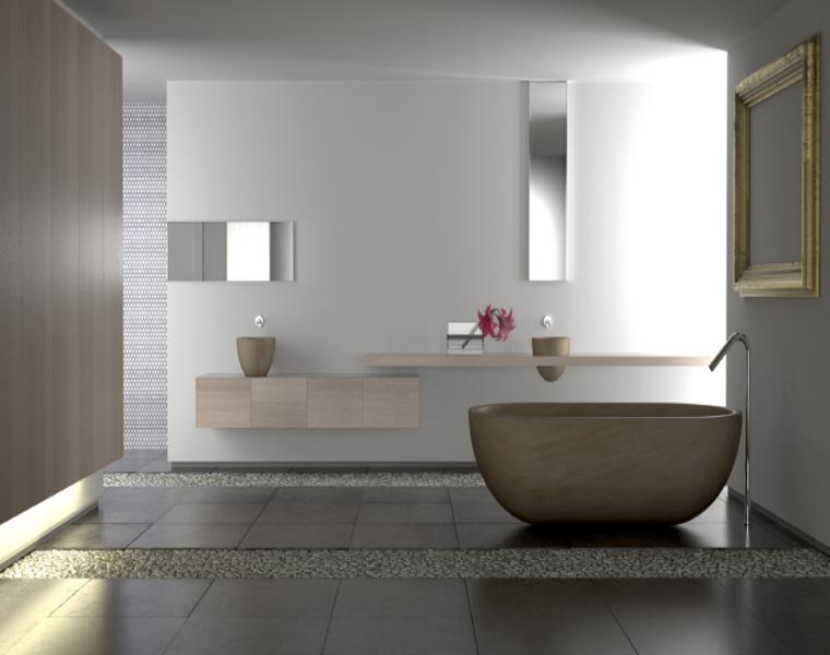 decoración de baño con piedras