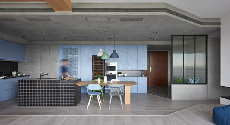 original diseno cocina moderna azul