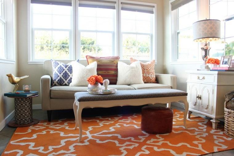 original diseno salon alfombra naranja
