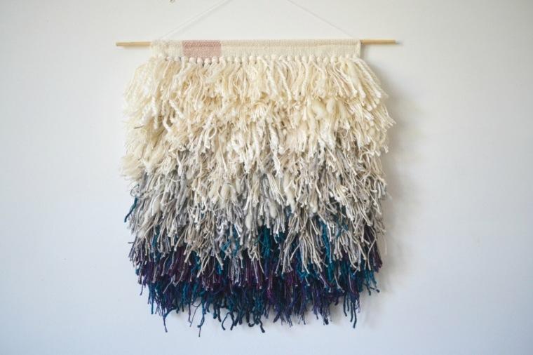 original tapiz flecos lana colgantes