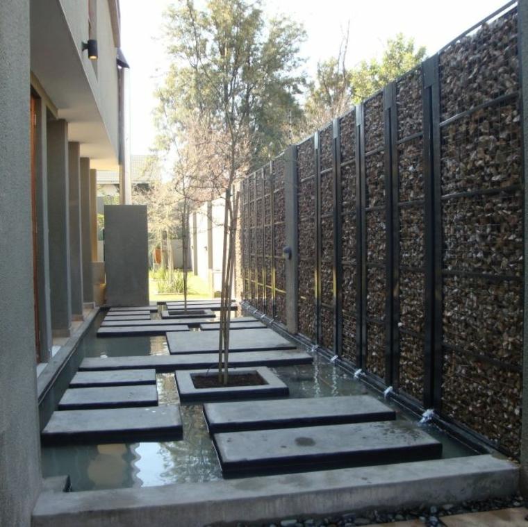 Gaviones decorativos para patios y jardines 34 ideas for Disenos de patios con piedras
