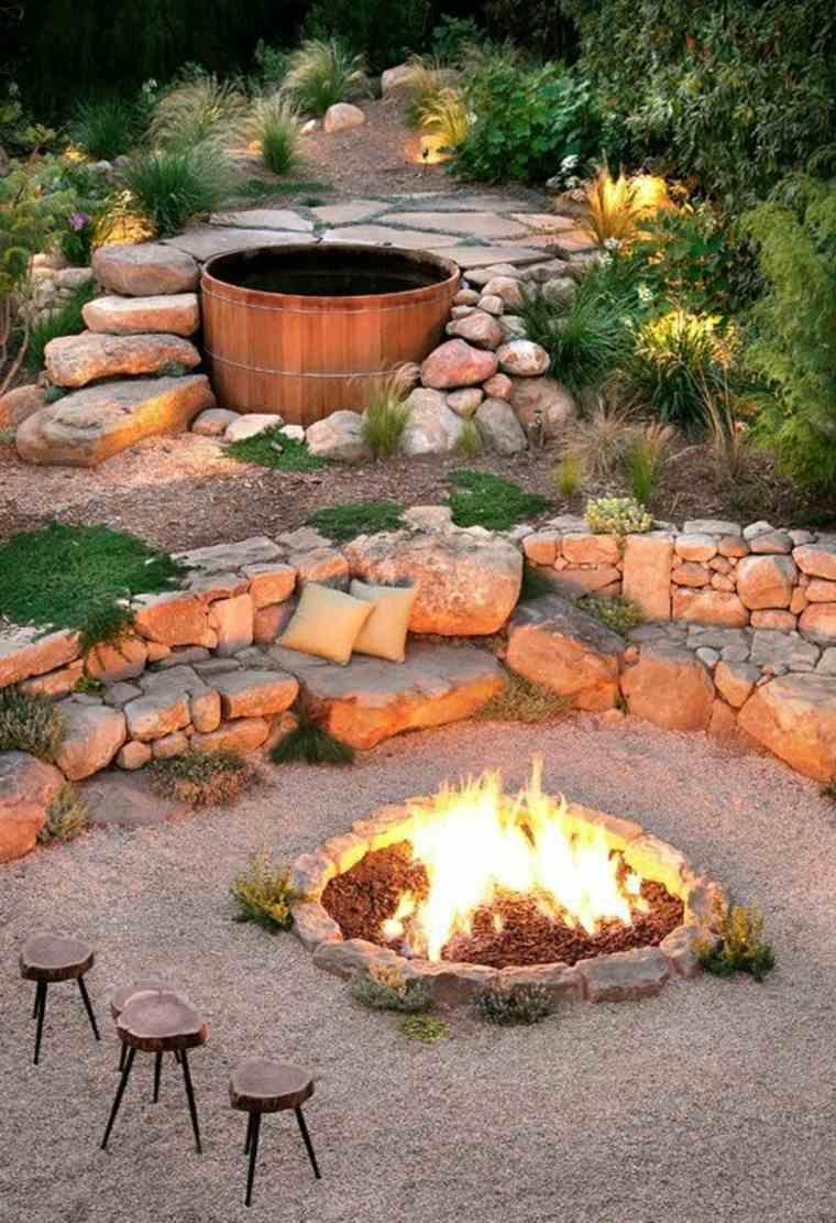 original cubo madera chimenea jardin