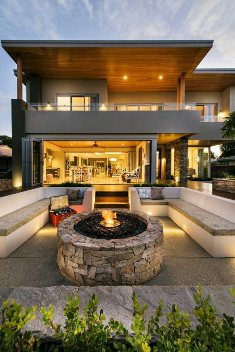 patios jardines chimeneas modernas