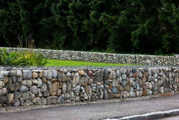 Gaviones decorativos para patios y jardines 34 ideas - Muros de contencion de piedra ...